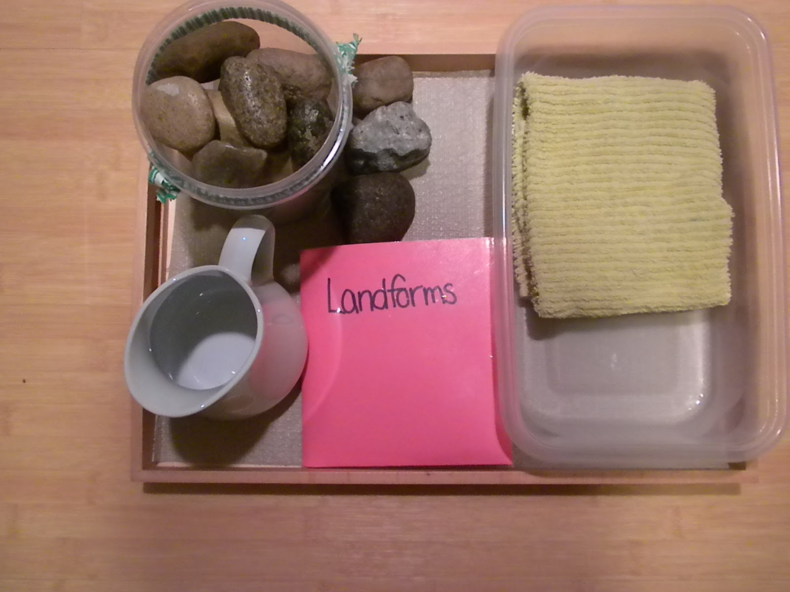 Landform Tray (Photo from Discovery Days and Montessori Moments)