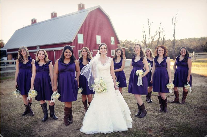Independent Designer: Real Wedding: 9 Bridesmaids, Eggplant Purple ...