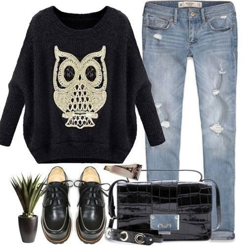 Black Long Sleeve Owl Pattern Mohair Sweater and Jeans, Long Bag and Shoes
