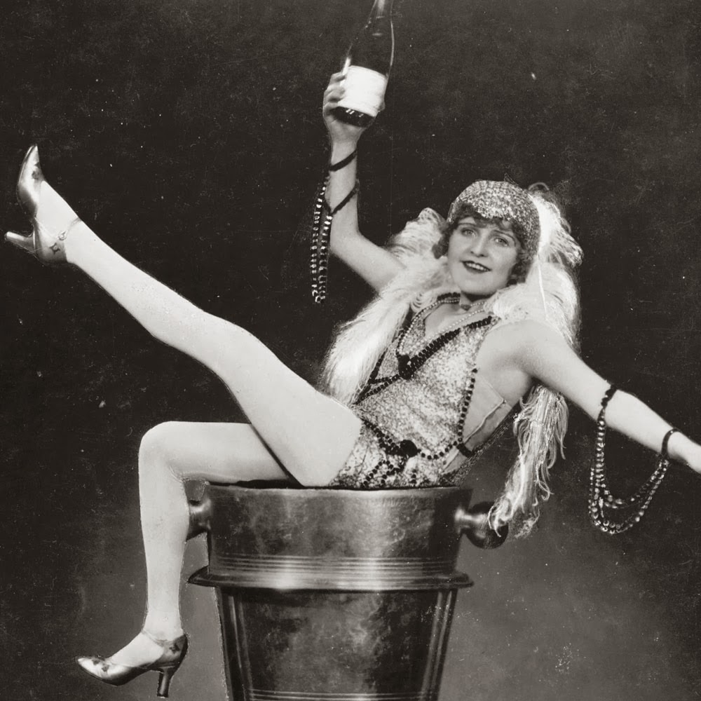 Vintage Champagne Girl Black And White Photo