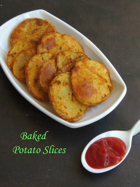 Baked potato slices, Spiced & baked potato slices