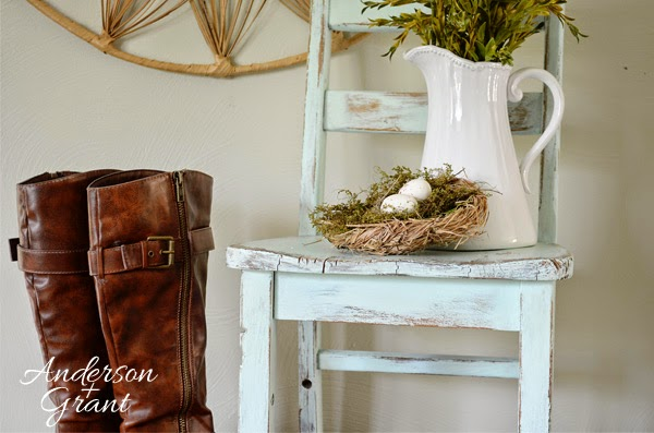 Hand painted and distressed kid's chair from www.andersonandgrant.com