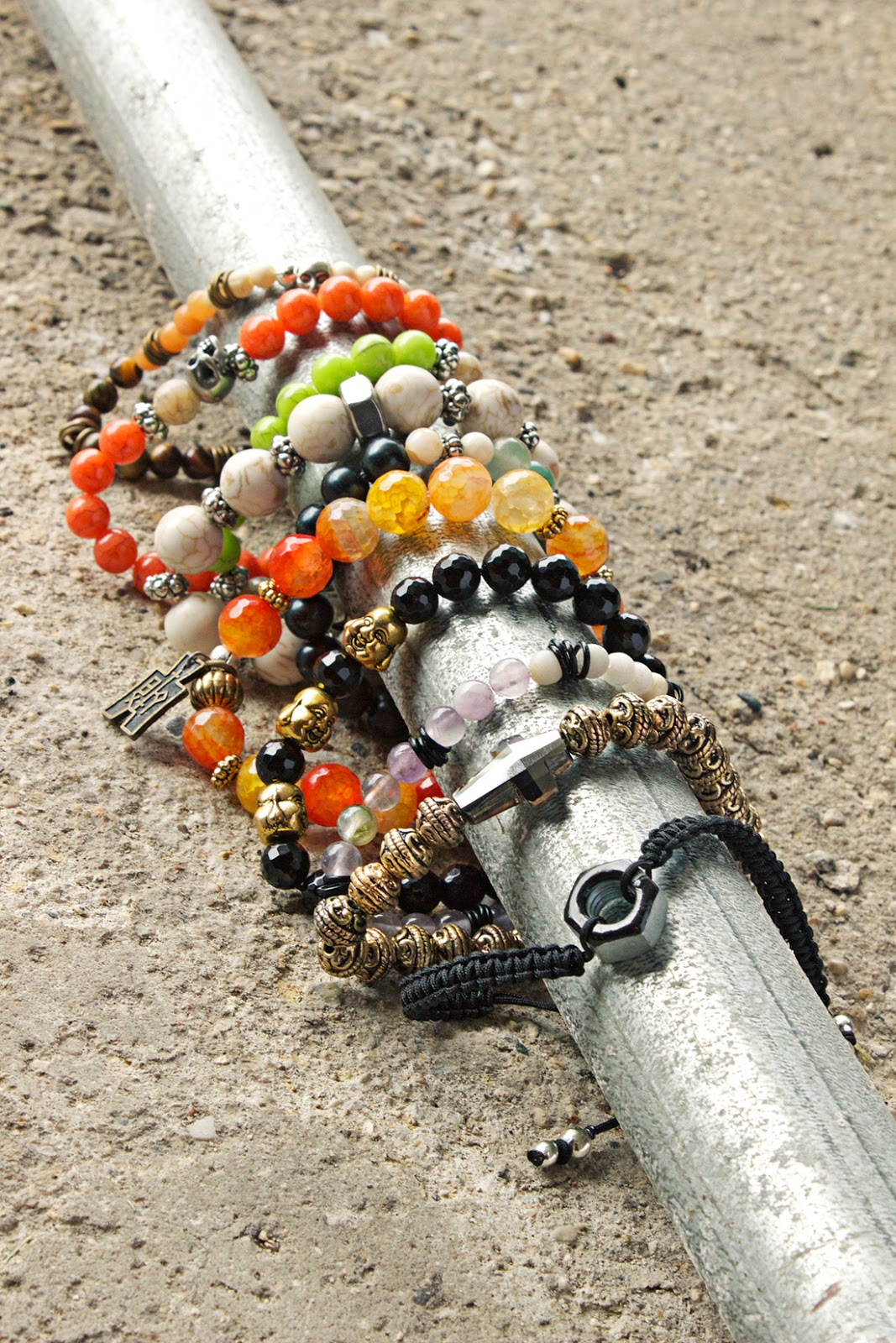 bohemian beaded gypsy bracelets for men by Quiet Lion Creations