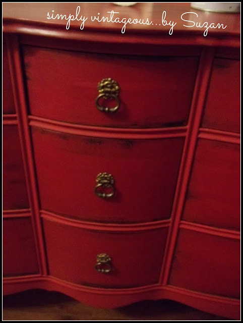 red, dresser, emeror's silk, annie sloan, chalk paint, original hardware