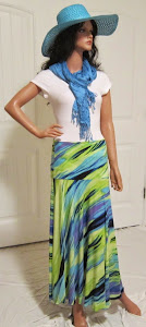 Cool Tropical Splash Maxi Skirt in Ocean Colors