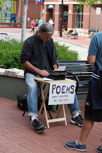 People tell what they would like a poem about and Bill takes about five