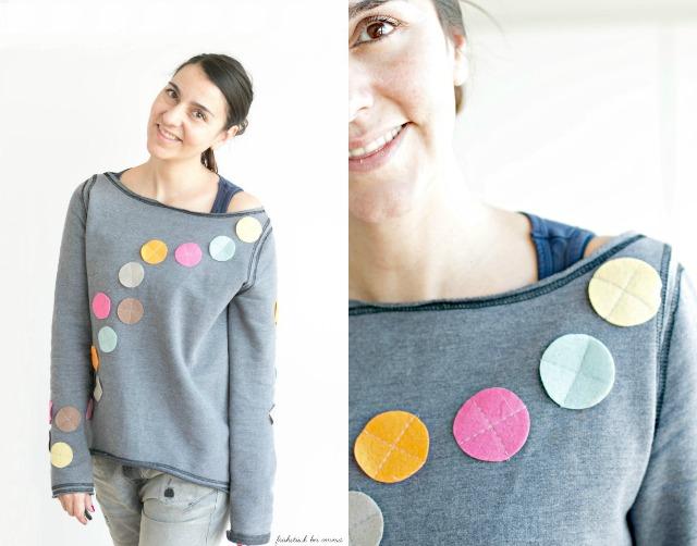 Schnitt Malotty von Frau Liebstes - Beispiel grauer Sweatshirt