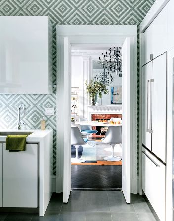 light blue diamond pattern wallpaper wall white modern kitchen flat front cabinet doors cabinets cabinetry