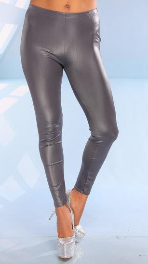 CHARCOAL SHINY FAUX PLEATHER STRAIGHT LEG LEGGINGS
