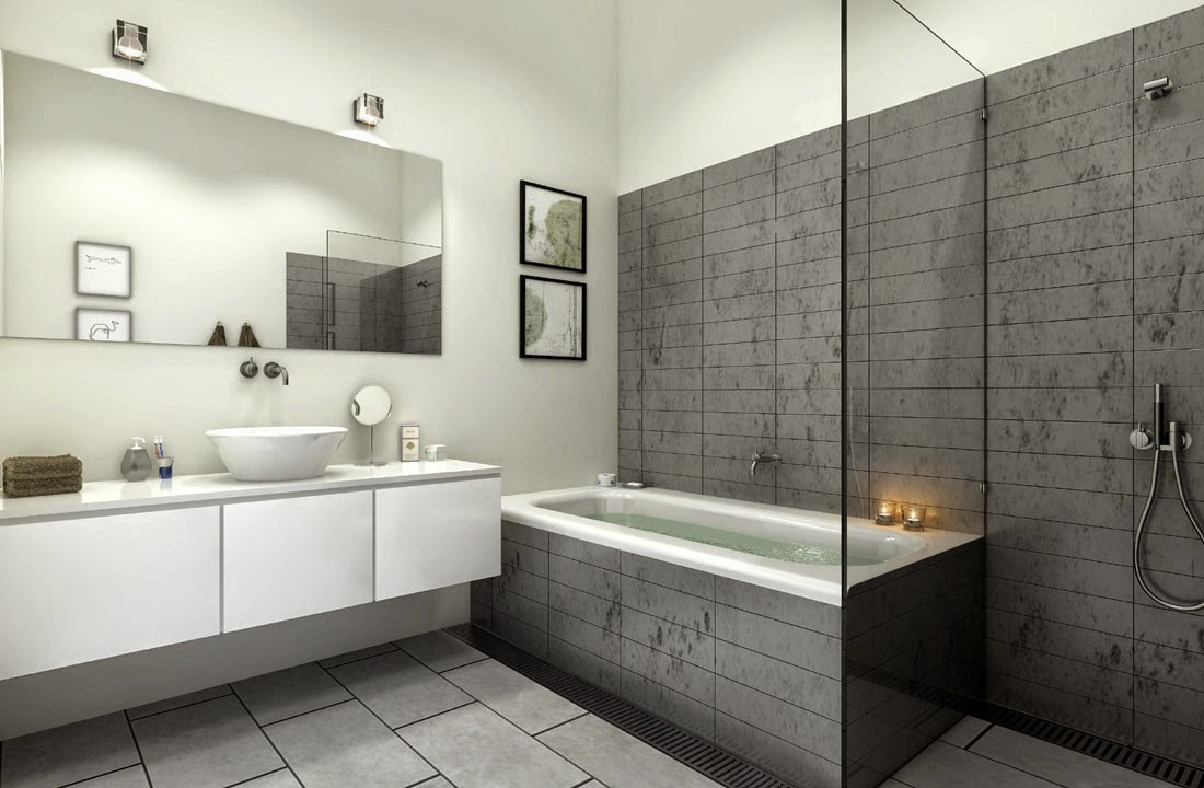 Salle de bain beige et gris for Photo sdb moderne