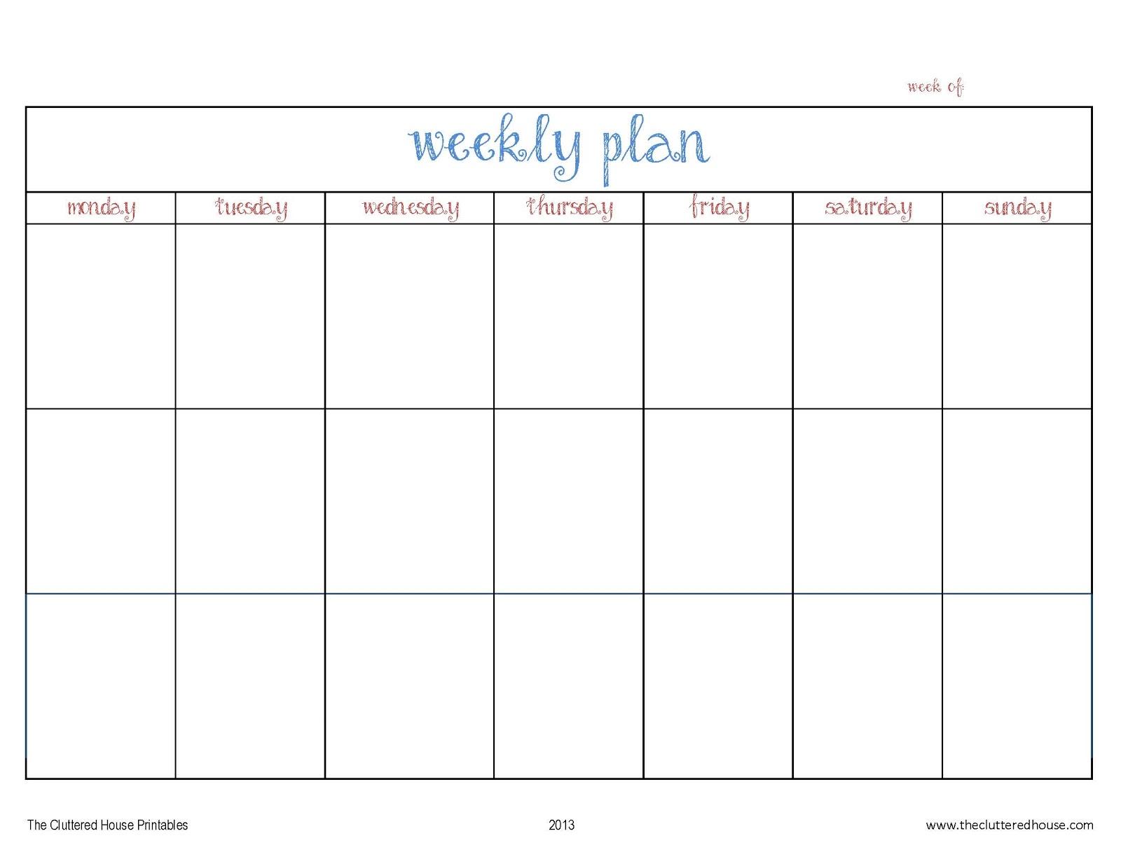 5 day calendar template word