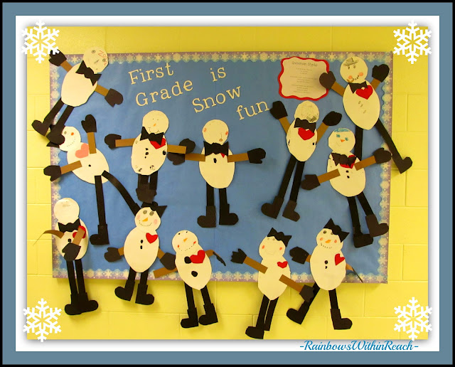 "photo of: Winter Bulletin Board: ""First Grade is Snow Fun"" (via Winter RoundUP at RainbowsWithinReach)"