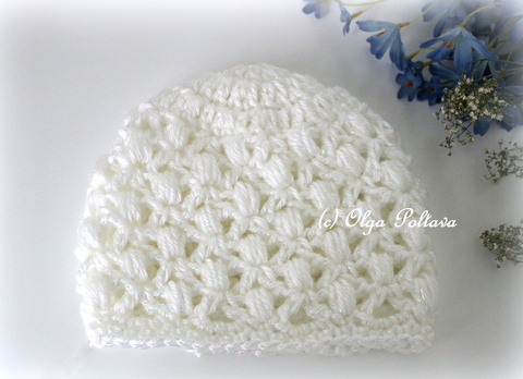 Lacy Crochet Soft Puffs Baby Beanie