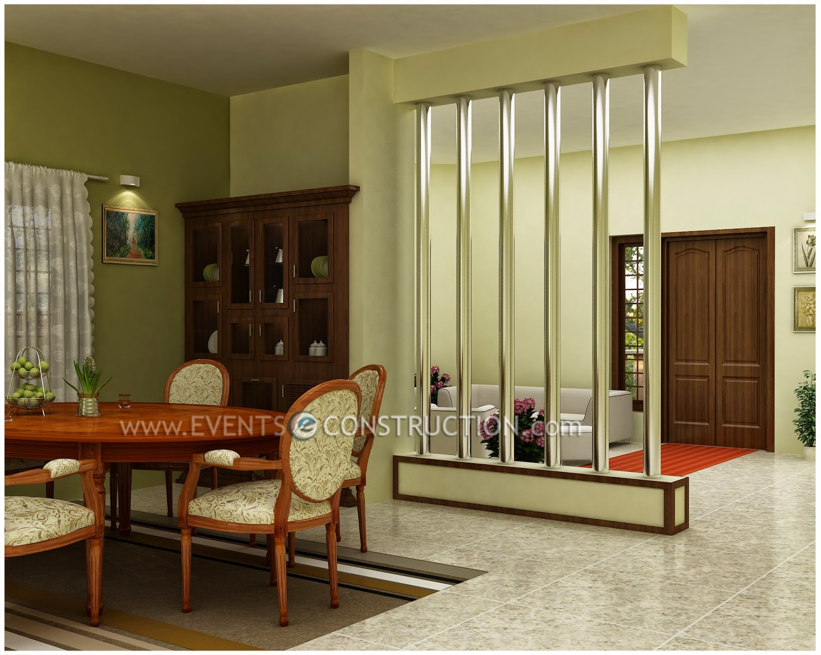 Evens construction pvt ltd living area and dining room for Living room divider designs