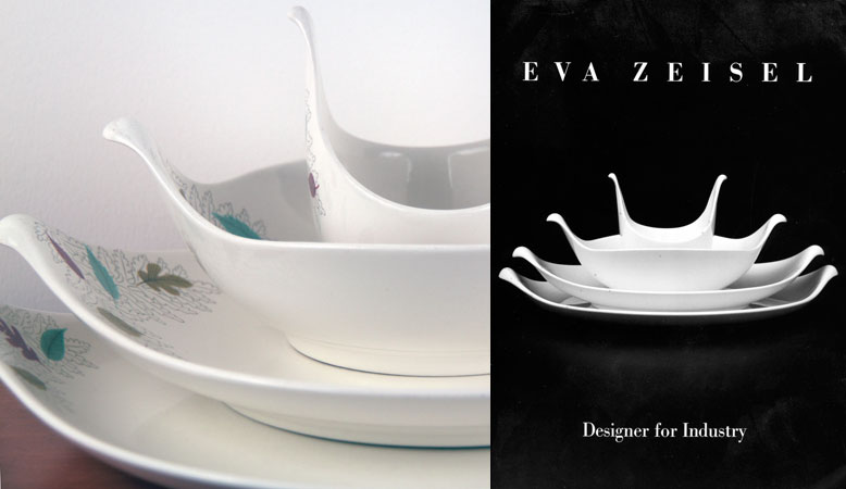 Left Century bowls and platters; right book cover Eva Zeisel Designer for industry & Chasing Eva