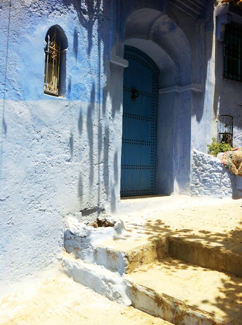building with blue walls and door in Morocco