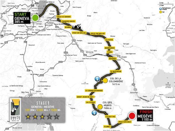carte de l'étape 1 de la haute route