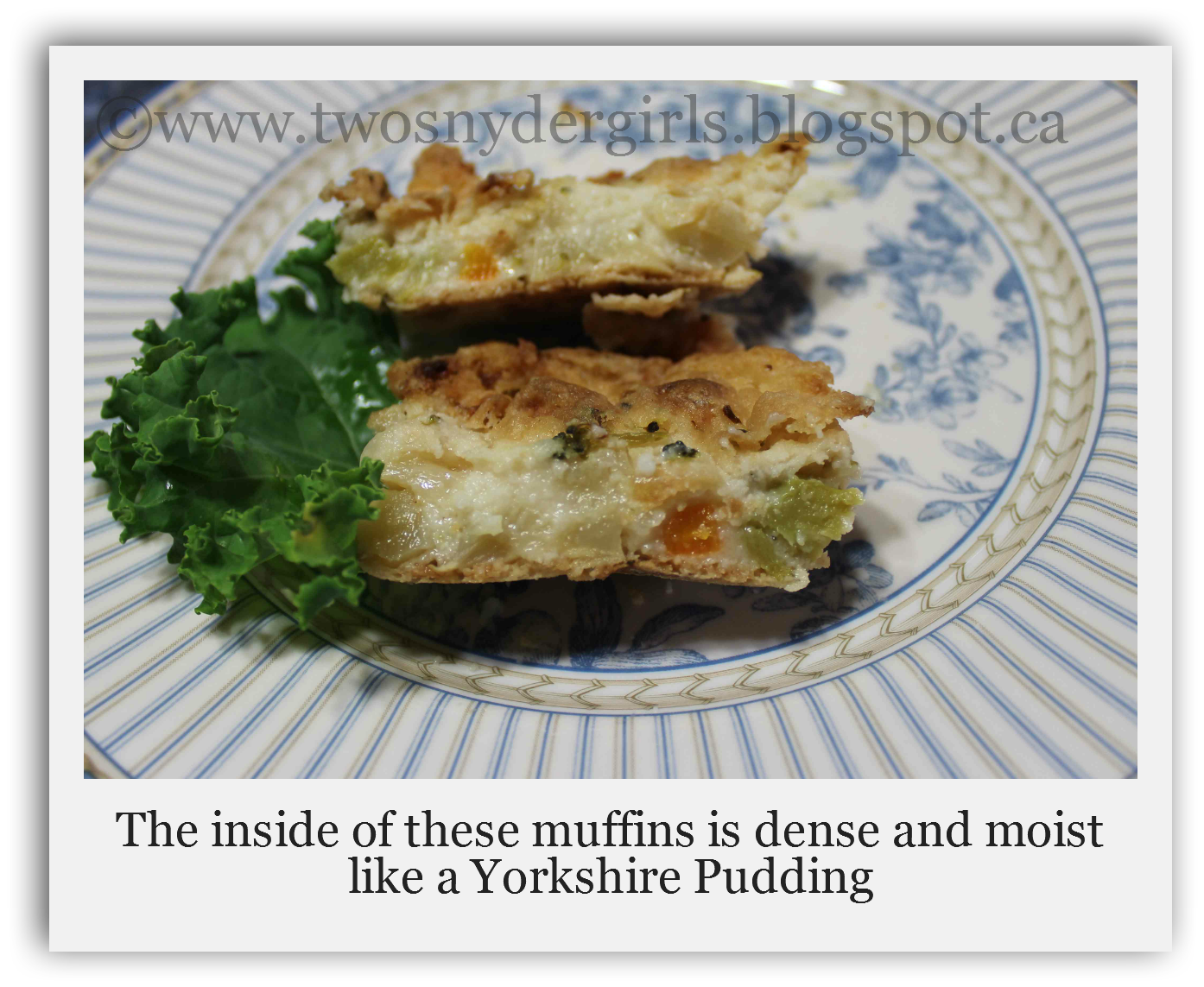 Cross Section of Veggie & Cheese Pudding Muffins