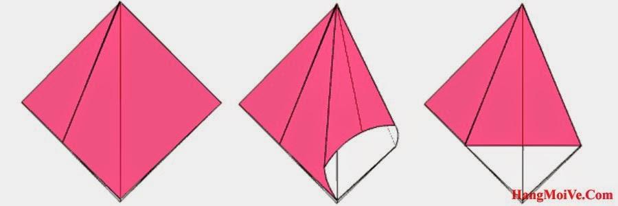 Bước 8:  Mở lớp giấy bên phải của hình 1 theo hướng từ bên trong ra bên ngoài (hình 2) rồi gấp xuống sang phía bên phải ta được hình 3.