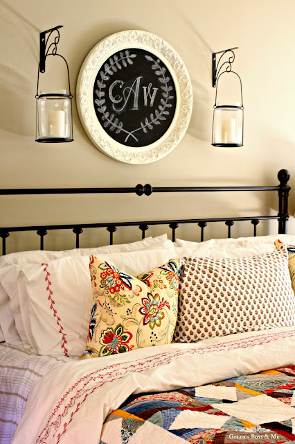 Monogram chalkboard ikea duvet cover bedding spray painted headboard in master bedroom via www.goldenboysandme.com