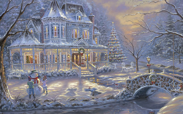 Hình nền người tuyết đêm giáng sinh