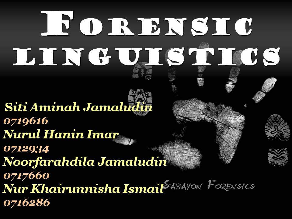 forensic linguistics assignment
