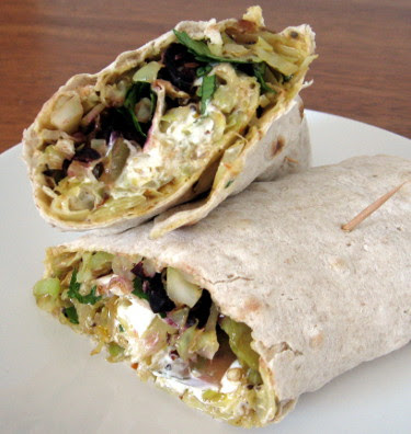 lavash with hummus and vegetables