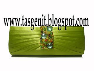 tas pesta clutch bag dompet pesta hijau payet