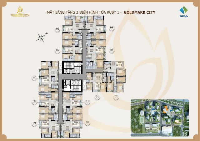 Sơ đồ mặt bằng thiết kế ruby 1 Goldmark City