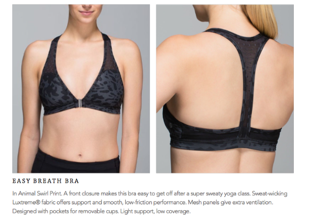 lululemon easy breath bra