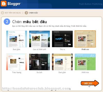 Chọn mẫu giao diện cho blog