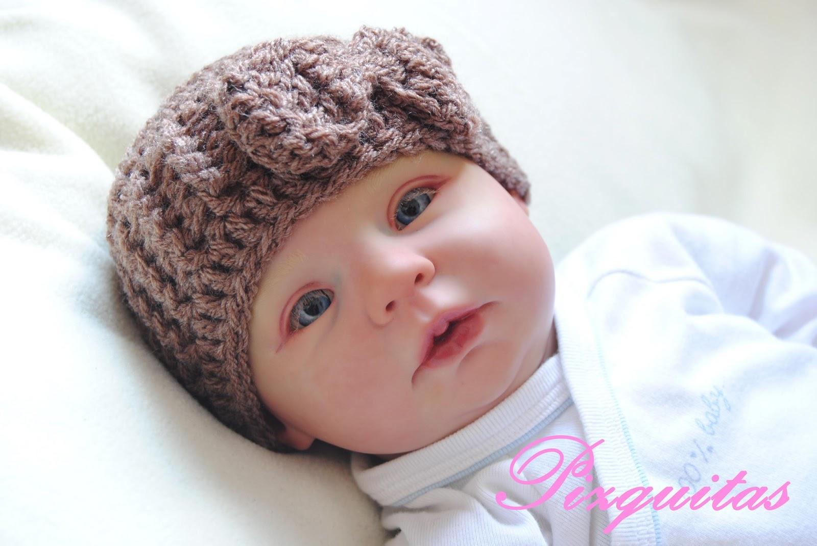 Gorro de crochet para bebé ~ Pizquitas 134b3814bd5
