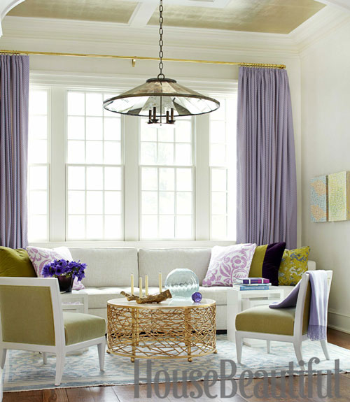 Mix and chic a colorful and dramatic home in scarsdale new york for Lavender curtains for living room