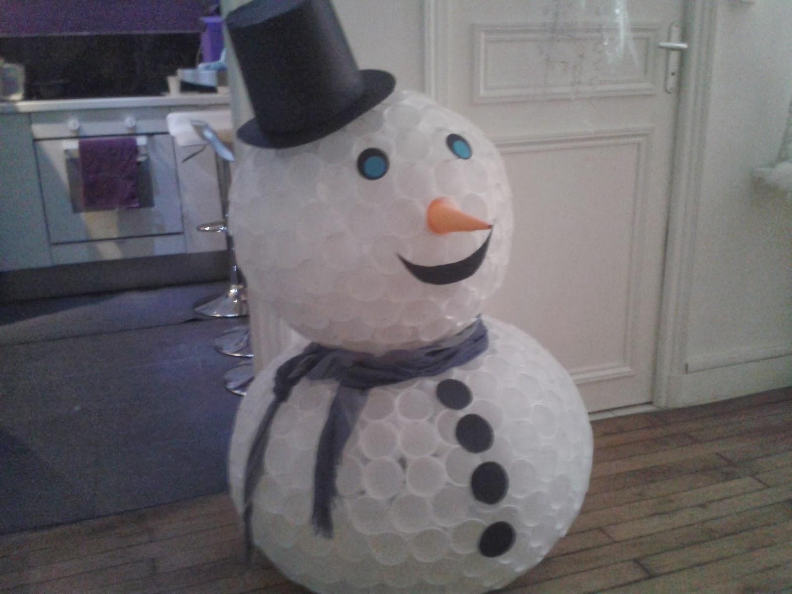 Diario d 39 une concierge bonhomme de neige gobeletets - Bonhomme de neige en gobelet combien ...