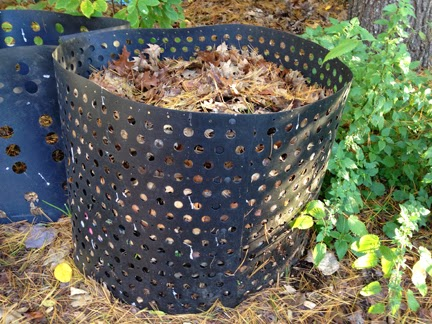 compost bin filled with leaves