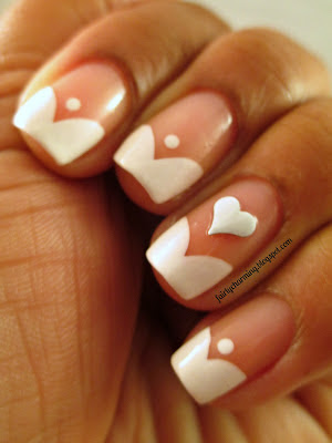 KK Center HK, product review, hearts, studs, white, french manicure, funky french, frenchie, nails, nail art, nail design, mani
