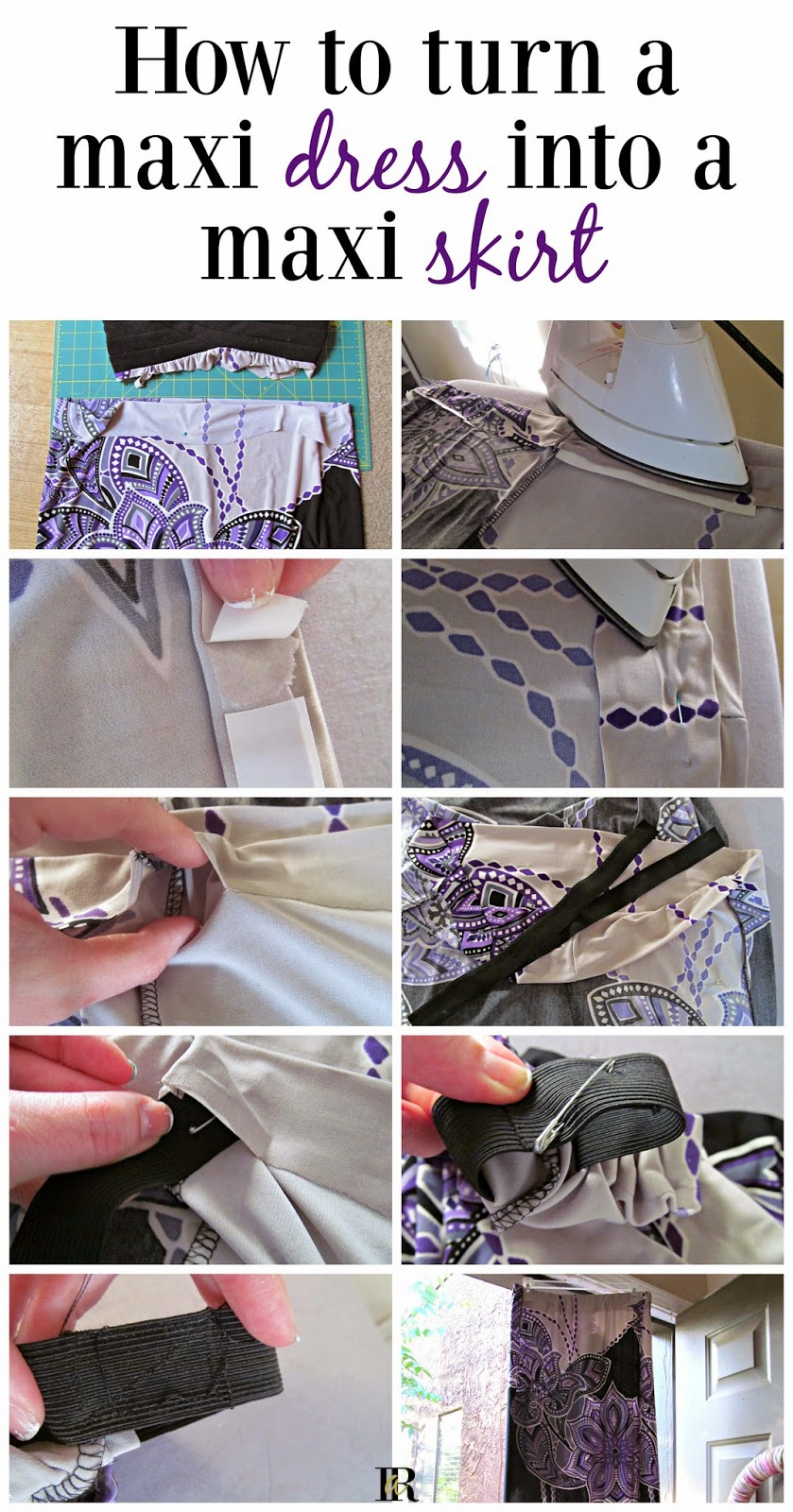 How to turn a Maxi Dress into a Maxi Skirt (with almost no sewing)!