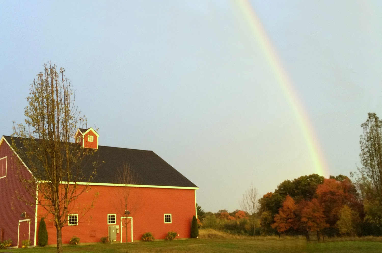 Rainbow over barn Hopkinton MA - New England Fall Events