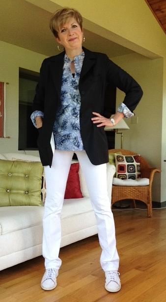 Tory Burch tunic, Smythe blazer, Hudson white bootcut jeans, Stan Smith adidas