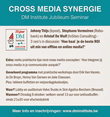 DMInstitute advertentie in de Standaard voor het Cross Media Seminar van 8 oktober