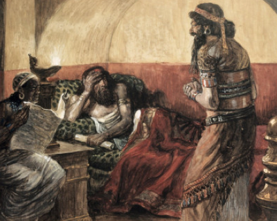 The chronicles are read to King Ahasuerus - James Tissot