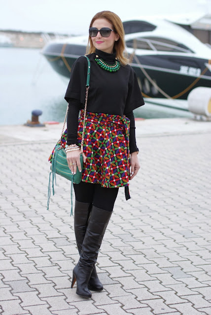 Let them stare bow skirt, over the knee boots, Fashion and Cookies, fashion blogger
