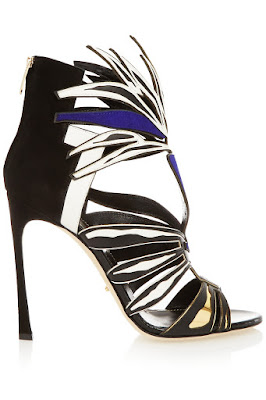Sergio Rossi black, white and blue high heels