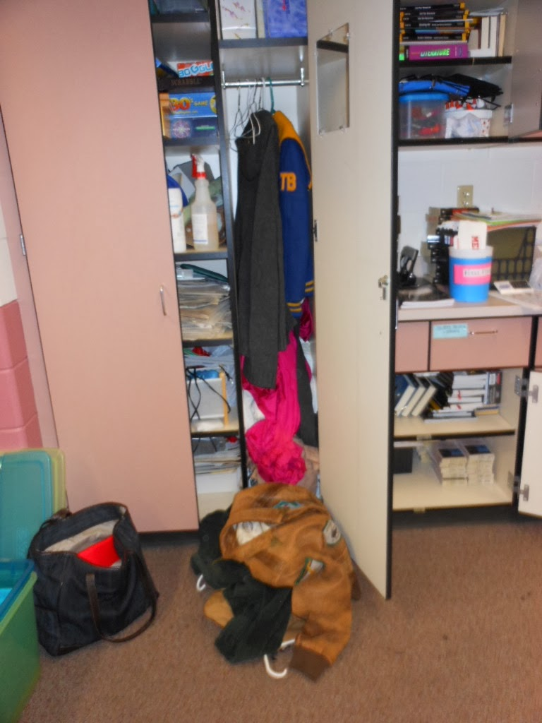 If you open my closet door, something might fall out. {Classroom Disorganization: Organizing My Classroom One Step at a Time)