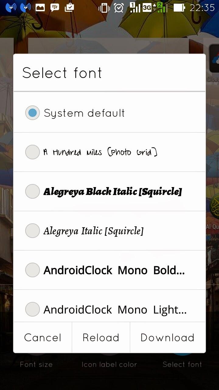 Pilihan Font ASUS Launcher Zenfone 5