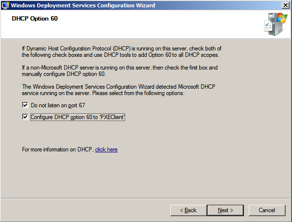 Windows Deployment Services Wizard Configuration Wizard