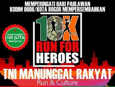 10K Run For Heroes 2015, lomba lari tni kodim 0606 kota bogor, kebun raya bogor
