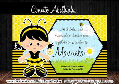 arte convite abelhinha