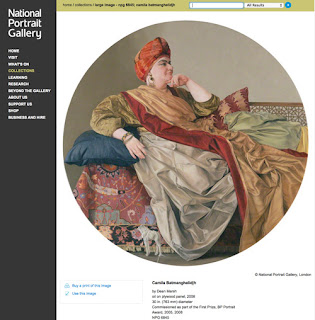 NPG website page  re. the portrait of Camila Batmanghelidjh