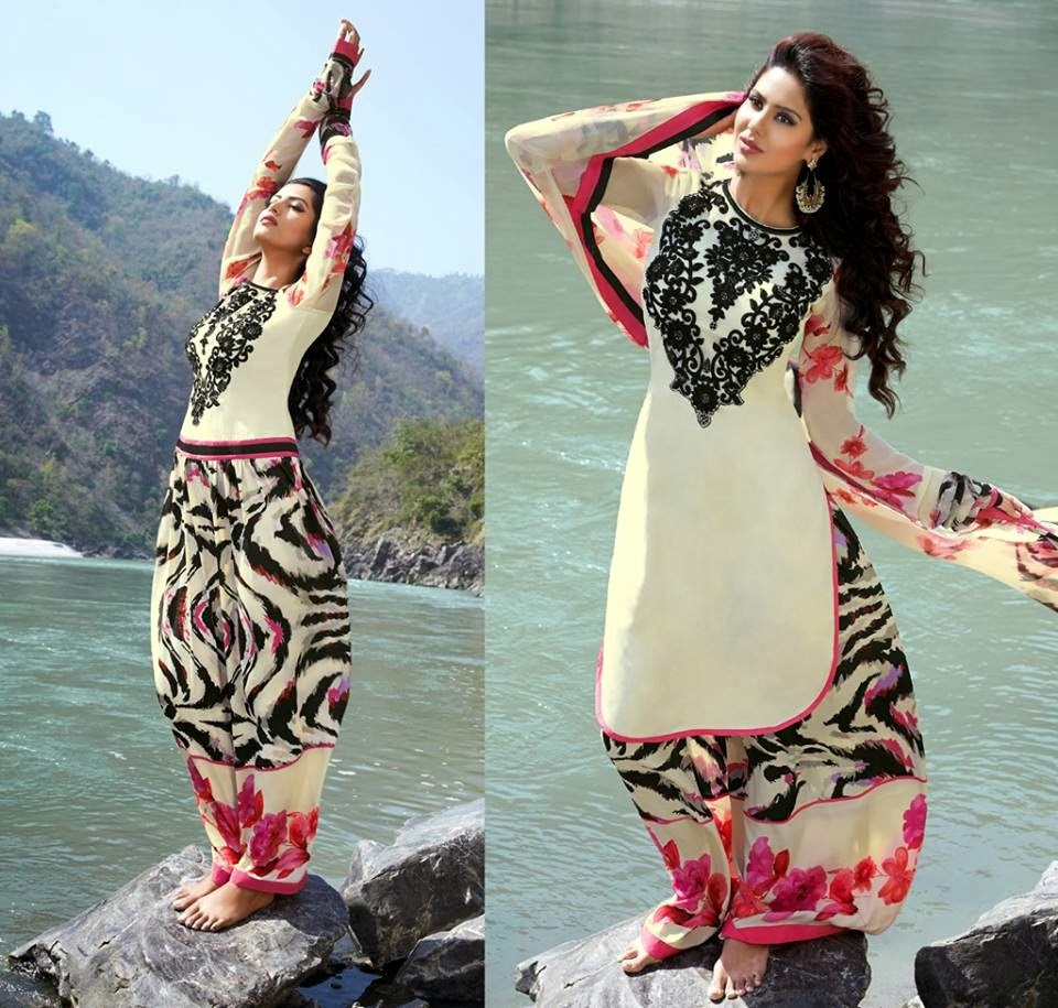 Classy Designer Salwar Kameez 2014 15 Embroidered Long Shirt